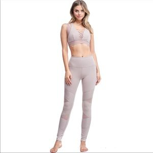 Mocha mesh cutout pantera workout leggings